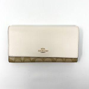 COACH Signature Trifold Wallet Khaki Chalk F88024